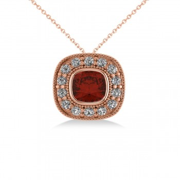 Garnet & Diamond Halo Cushion Pendant Necklace 14k Rose Gold (1.62ct) Also known as a pillow cut, the cushion cut is a favorite for those desiring a piieve of jewelry that evokes romance and elegance. This striking garnet and diamond halo pendant necklace is highlighted by a cushion-cut red garnet center stone encircled by a halo of accent diamonds for added sparkle. This vintage-inspired piece is crafted in 14k rose gold decorated with milgrain and scroll detailing. With your purchase, select a matching chain in your choice of 16 or 18 length. The garnet is rated eye clean for clarity. Diamonds are all prong set and rated G-H for color and SI1-SI2 for clarity. All gemstones have a combined 1.62 total carat weight. Also available in other metals, and set with other precious and semi-precious stones.