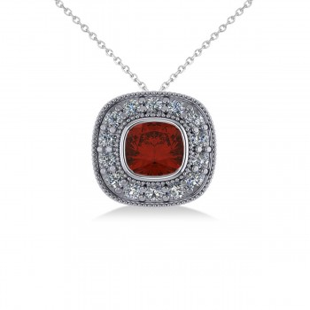 Garnet & Diamond Halo Cushion Pendant Necklace 14k White Gold (1.62ct) Sometimes referred to as a pillow cut, the cushion cut is a favorite for those looking for a piece of jewelry that evokes romance and elegance. This striking garnet and diamond halo pendant necklace is highlighted by a cushion-cut red garnet center stone encircled by a halo of accent diamonds for added sparkle. This vintage-inspired piece is crafted in 14k white gold decorated with milgrain and scroll detailing. With your purchase, select a matching chain in your choice of 16 or 18 length. The garnet is rated eye clean for clarity. Diamonds are all prong set and rated G-H for color and SI1-SI2 for clarity. All gemstones have a combined 1.62 total carat weight. Also available in other metals, and set with other precious and semi-precious stones.