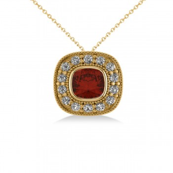 Garnet & Diamond Halo Cushion Pendant Necklace 14k Yellow Gold (1.62ct) Sometimes called a pillow cut, the cushion cut gemstone is favored by those looking for jewelry that evokes romance and elegance. This striking garnet and diamond halo pendant necklace is highlighted by a cushion-cut red garnet center stone encircled by a halo of accent diamonds for added sparkle. This vintage-inspired piece is crafted in 14k yellow gold decorated with milgrain and scroll detailing. With your purchase, select a matching chain in your choice of 16 or 18 length. The garnet is rated eye clean for clarity. Diamonds are all prong set and rated G-H for color and SI1-SI2 for clarity. All gemstones have a combined 1.62 total carat weight. Also available in other metals, and set with other precious and semi-precious stones.