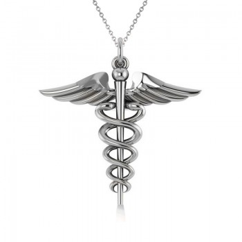 Caduceus Medical Symbol Pendant 14k White Gold A symbol long associated with physicians and healing, the Caduceus also represents the staff of the winged Greek god Hermes. Our Caduceus pendant necklace is in a stunning 14k white gold. Choose a 16 or 18 matching 14k white gold chain, FREE with purchase. The pendant necklace is also available in other metals.