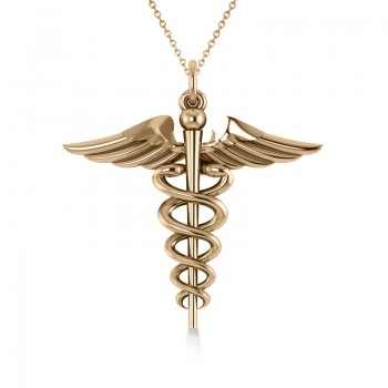 Caduceus Medical Symbol Pendant 14k Yellow Gold A symbol often associated with medicine and healing, the Caduceus represents the wand of the winged Greek god Hermes. This Caduceus pendant necklace features stunning 14k Yellow Gold.  Select a 16 or 18 matching 14k Yellow Gold chain, FREE with your purchase. The pendant necklace is also available in other metals.