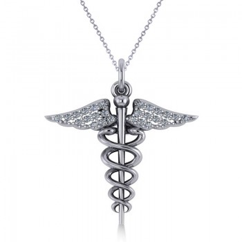 Diamond Caduceus Medical Symbol Pendant 14k White Gold (0.13ct) A symbol long associated with physicians and healing, the Caduceus also represents the staff of the winged Greek god Hermes. Our diamond Caduceus pendant necklace includes 26 round diamonds set in 14k white gold. The glittering stones are rated G-H for color, SI1-SI2 for clarity, with a total 0.13 carat weight. Choose a 16 or 18 matching 14k white gold chain, FREE with purchase. The pendant necklace is also available in other metals.