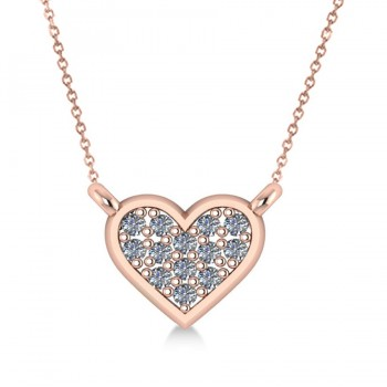Diamond Heart Pendant Necklace 14k Rose Gold (0.13ct)