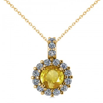 Round Yellow Sapphire & Diamond Halo Pendant Necklace 14k Yellow Gold (0.90ct)