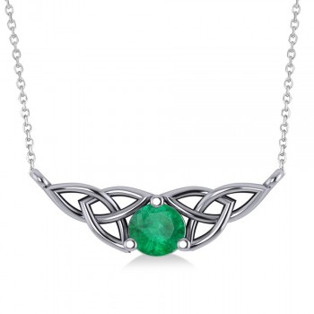 Celtic Round Emerald Pendant Necklace Trophy Wife Fashion