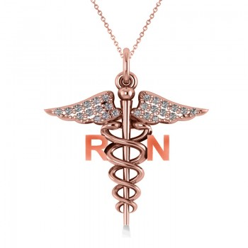 Diamond Caduceus RN Medical Symbol Pendant 14k Rose Gold (0.13ct) An emblem often used to represent the healing professions, the Caduceus symbolizes the staff of the winged Greek god Hermes. This special piece has the words RN on the sides of the Caduceus symbol, making it the perfect gift or piece of jewelry for a registered nurse. Our diamond Caduceus pendant necklace includes 26 near colorless diamonds set in 14k rose gold. The stones are rated G-H for color, SI1-SI2 for clarity, with a total 0.13 carat weight. Receive a 16 or 18 matching 14k rose gold chain FREE with your purchase. Also available in other metals.