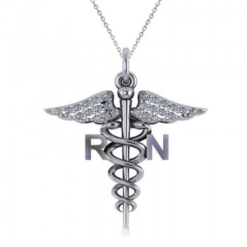 Diamond Caduceus RN Medical Symbol Pendant 14k White Gold (0.13ct) A symbol long associated with physicians and healing, the Caduceus also represents the staff of the winged Greek god Hermes. This special piece has the words RN on the sides of the Caduceus symbol, making it the perfect gift or piece of jewelry for a registered nurse. Our diamond Caduceus pendant necklace includes 26 round diamonds set in 14k white gold. The glittering stones are rated G-H for color, SI1-SI2 for clarity, with a total 0.13 carat weight. Choose a 16 or 18 matching 14k white gold chain, FREE with purchase. The pendant necklace is also available in other metals.