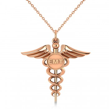 Emergency Medical Technician (EMT) ID Pendant Necklace 14k Rose Gold A symbol long associated with medical professionals, the Caduceus also represents the staff of the winged Greek god Hermes. This special 14K Rose Gold pendant necklace includes a Caduceus and the raised letters EMT, making it an ideal gift or piece of jewelry to identify its wearer as an Emergency Medical Technician.  Enjoy a FREE matching chain, in your choice of 16 or 18-inch length, with your purchase.  Designed and crafted in the USA, the pendant necklace is also available in other precious metals.