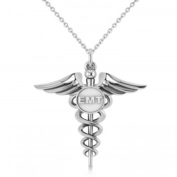Emergency Medical Technician (EMT) ID Pendant Necklace 14k White Gold A symbol long associated with medical professionals, the Caduceus also represents the staff of the winged Greek god Hermes. This special 14K White Gold pendant necklace includes a Caduceus and the raised letters EMT, making it an ideal gift or piece of jewelry to identify its wearer as an Emergency Medical Technician.  Enjoy a FREE matching chain, in your choice of 16 or 18-inch length, with your purchase.  Designed and crafted in the USA, the pendant necklace is also available in other precious metals.