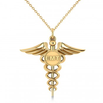 Emergency Medical Technician (EMT) ID Pendant Necklace 14k Yellow Gold A symbol long associated with medical professionals, the Caduceus also represents the staff of the winged Greek god Hermes. This special 14K Yellow Gold pendant necklace includes a Caduceus and the raised letters EMT, making it an ideal gift or piece of jewelry to identify its wearer as an Emergency Medical Technician.  Enjoy a FREE matching chain, in your choice of 16 or 18-inch length, with your purchase.  Designed and crafted in the USA, the pendant necklace is also available in other precious metals.