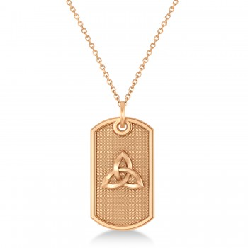Celtic Knot Dog Tag Pendant Necklace 14k Rose Gold This dog tag pendant features a carved out celtic knot design that's sure to get noticed.Crafted in durable, polished 14k rose gold, this single, military style dog tag measures 29.51mm x 15.50mm, the perfect size for any man.Show your love with this dog tag pendant with a celtic knot design.