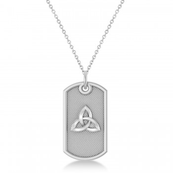 Celtic Knot Dog Tag Pendant Necklace 14k White Gold This dog tag pendant features a carved out celtic knot design that's sure to get noticed.Crafted in durable, polished 14k white gold, this single, military style dog tag measures 29.51mm x 15.50mm, the perfect size for any man.Show your love with this dog tag pendant with a celtic knot design.
