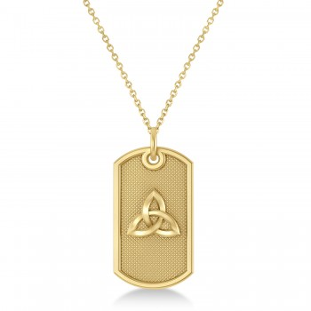 Celtic Knot Dog Tag Pendant Necklace 14k Yellow Gold This dog tag pendant features a carved out celtic knot design that's sure to get noticed.Crafted in durable, polished 14k yellow gold, this single, military style dog tag measures 29.51mm x 15.50mm, the perfect size for any man.Show your love with this dog tag pendant with a celtic knot design.