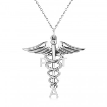 Medical PTA Symbol Pendant Necklace 14k White Gold Our Medical PTA Symbol Pendant Necklace makes a special gift for a Physical Therapy Assistant. Its staff-like design features the initials PTA and the coil-snaked Caduceus, the staff of the winged Greek god Hermes and a symbol of medicine and healing. Included with the 14k white gold pendant is a 16 or 18 matching chain at no additional cost.