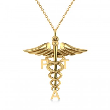 Medical PTA Symbol Pendant Necklace 14k Yellow Gold Our Medical PTA Symbol Pendant Necklace makes a special gift for a Physical Therapy Assistant. Its staff-like design features the initials PTA and the coil-snaked Caduceus, the staff of the winged Greek god Hermes and a symbol of medicine and healing. Included with the 14k yellow gold pendant is a 16 or 18 matching chain at no additional cost.