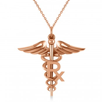 Medical RX Pharmacy Symbol Pendant Necklace 14k Rose Gold A traditional symbol associated with medicine and healing, the Caduceus also represents the staff of the Hermes, the Greek god of wealth, trade and luck. Our Medical RX Pharmacy Symbol pendant necklace features a coil-snaked Caduceus staff and wings in gleaming 14k rose gold and makes a perfect gift for a pharmacist or medical chemist.? Choose a 16 or 18 matching 14k white gold chain, free with your purchase