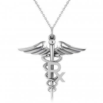 Medical RX Pharmacy Symbol Pendant Necklace 14k White Gold A traditional symbol associated with medicine and healing, the Caduceus also represents the staff of the Hermes, the Greek god of wealth, trade and luck. Our Medical RX Pharmacy Symbol pendant necklace features a coil-snaked Caduceus staff and wings in gleaming 14k white gold and makes a perfect gift for a pharmacist or medical chemist.? Choose a 16 or 18 matching 14k white gold chain, free with your purchase