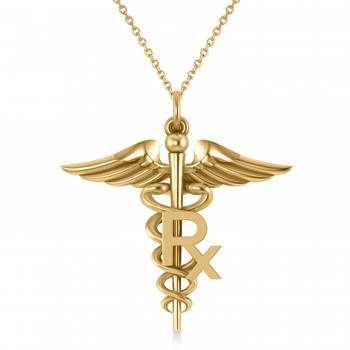 Medical RX Pharmacy Symbol Pendant Necklace 14k Yellow Gold A traditional symbol associated with medicine and healing, the Caduceus also represents the staff of the Hermes, the Greek god of wealth, trade and luck. Our Medical RX Pharmacy Symbol pendant necklace features a coil-snaked Caduceus staff and wings in gleaming 14k yellow gold and makes a perfect gift for a pharmacist or medical chemist.? Choose a 16 or 18 matching 14k white gold chain, free with your purchase