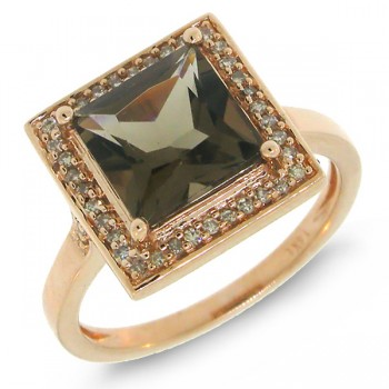 0.20ct Diamond & 2.20ct Smokey Topaz 14k Rose Gold Ring