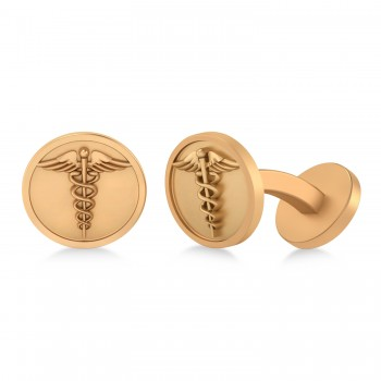Men's Caduceus Medical Symbol Cufflinks 14k Rose Gold According to legend, the Caduceus symbol is said to represent the winged staff carried by the Greek god Hermes, also known as the Roman god Mercury. Today, the Caduceus is regarded as a symbol of healing and medicine. Fashioned in 14k rose gold, our Men's Caduceus Medical Symbol Cufflinks make a thoughtful gift for a doctor, nurse or paramedic. Each cufflink features a fixed backing to secure it to the shirt's cuff. The Men's Caduceus Medical Symbol Cufflinks are also available in other metals.