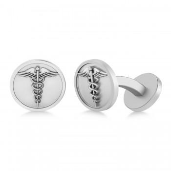 Men's Caduceus Medical Symbol Cufflinks 14k White Gold According to legend, the Caduceus symbol is said to represent the winged staff carried by the Greek god Hermes, also known as the Roman god Mercury. Today, the Caduceus is regarded as a symbol of healing and medicine. Fashioned in 14k white gold, our Men's Caduceus Medical Symbol Cufflinks make a thoughtful gift for a doctor, nurse or paramedic. Each cufflink features a fixed backing to secure it to the shirt's cuff. The Men's Caduceus Medical Symbol Cufflinks are also available in other metals.