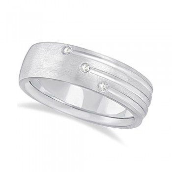 Mens Shooting Star Diamond Wedding Ring Band 18k White Gold (0.15ct) This unique wide band carved ring for men features an elegant 3-stripe engraved design and 6 brilliant cut round diamonds of bright clear G-H Color and VS Clarity set in a burnish setting.This fancy 18kt white gold ring with satin finish is comfort-fit, which means it has rounded inside edges to provide the ultimate comfort for him.Wear this modern low dome styled ring as a wedding band, wear it as an engagement ring, as an anniversary ring, or as a right hand fashion ring.Available in other finishes and other precious metals.