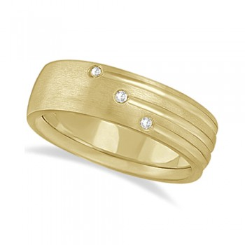 Mens Shooting Star Diamond Wedding Ring Band 18k Yellow Gold (0.15ct) This unique wide band carved ring for men features an elegant 3-stripe engraved design and 6 brilliant cut round diamonds of bright clear G-H Color and VS Clarity set in a burnish setting.This fancy 18kt yellow gold ring with satin finish is comfort-fit, which means it has rounded inside edges to provide the ultimate comfort for him.Wear this modern low dome styled ring as a wedding band, wear it as an engagement ring, as an anniversary ring, or as a right hand fashion ring.Available in other finishes and other precious metals.