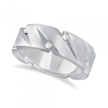 Mens Pointed Groove Diamond Wedding Ring Band 18k White Gold (0.50ct) This contemporary wide band carved diamond ring for men features 10 brilliant cut round diamonds, each wedged within a ridge that resembles a knife-cut. The diamonds that adorn this unique engraved ring are of bright clear G-H Color, VS Clarity and are set in a burnish setting.This fancy 18kt white gold eternity ring with satin finish is comfort-fit, which means it has rounded inside edges to provide the ultimate comfort for him.Wear this flat style ring as a wedding band, wear it as an engagement ring, as an anniversary ring, or as a right hand fashion ring.Available in other finishes and other precious metals.