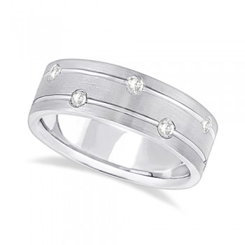 Mens Wide Band Diamond Wedding Ring w/ Grooves 14k White Gold (0.40ct) In this modern wide band diamond eternity ring for men, 12 brilliant cut round diamonds set in a burnish setting go all the way around a 14kt white gold band. The bright clear diamonds are of G-H Color, VS Clarity.The diamonds on this fancy carved ring sit on the path of two grooves that circle the satin finished band side-by-side. The band is comfort-fit with rounded inside edges to provide the ultimate comfort for him.Wear this unique flat style men's ring as a wedding band, wear it as an engagement ring, as an anniversary ring, or as a right hand fashion ring.Available in other finishes and other precious metals.