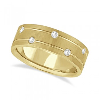 Mens Wide Band Diamond Wedding Ring w/ Grooves 18k Yellow Gold (0.40ct) In this modern wide band diamond eternity ring for men, 12 brilliant cut round diamonds set in a burnish setting go all the way around an 18kt yellow gold band. The bright clear diamonds are of G-H Color, VS Clarity.The diamonds on this fancy carved ring sit on the path of two grooves that circle the satin finished band side-by-side. The band is comfort-fit with rounded inside edges to provide the ultimate comfort for him.Wear this unique flat style men's ring as a wedding band, wear it as an engagement ring, as an anniversary ring, or as a right hand fashion ring.Available in other finishes and other precious metals.