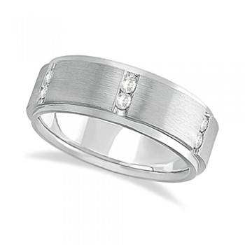 Mens Channel Set Wide Band Diamond Wedding Ring 18k White Gold (0.50ct) In this contemporary wide band diamond eternity ring for men, 12 brilliant cut round diamonds set in a channel setting go all the way around an 18kt white gold band. The bright clear diamonds are of G-H Color, VS Clarity.The diamonds on this fancy ring sit between satin finished squares while the sides of the ring have a polish finish. The band is comfort-fit with rounded inside edges to provide the ultimate comfort for him.Wear this unique flat style ring as a wedding band, wear it as an engagement ring, as an anniversary ring, or as a right hand fashion ring.Available in other finishes and other precious metals.