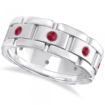 Men's Ruby Wedding Ring Wide Eternity Band 18k White Gold (0.80ct) When it comes to wedding bands for men why settle for ordinary when you can have an extraordinary men's ruby wedding band. This wide grooms ring has eight round natural rubies in a contemporary burnish setting, leaving each brilliant red ruby well secured in a unique rubbed 18K white gold edge. 0.80ct of red rubies adorn this men's eternity wedding band with sophistication, giving it a modern edgy appearance. Say 'I Do' in style with this ruby wedding band for men.This beautiful gemstone ring can also be worn as a fashion or anniversary ring, or as a birthstone ring for those born in July.