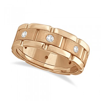 Mens Wide Band Diamond Eternity Wedding Ring 14kt Rose Gold (0.40ct) This fancy wide band diamond eternity ring for men features 8 brilliant cut round diamonds set in a burnished setting that go all the way around your finger. The diamonds that adorn this unique ring are of bright clear G-H Color and VS Clarity.This modern 14kt rose gold (pink gold) ring has a satin finish in the middle and a polish finish on the sides. This men's ring band is comfort-fit, which means it has rounded inside edges to provide the ultimate comfort for him.Wear this flat style ring as a wedding band, wear it as an engagement ring, as an anniversary ring, or as a right hand fashion ring.Available in other finishes and other precious metals.