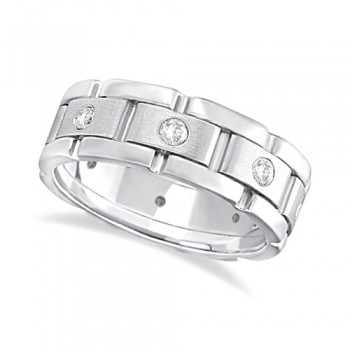 Mens Wide Band Diamond Eternity Wedding Ring 18kt White Gold (0.40ct) This fancy wide band diamond eternity ring for men features 8 brilliant cut round diamonds set in a burnished setting that go all the way around your finger. The diamonds that adorn this unique ring are of bright clear G-H Color and VS Clarity.This modern 18kt white gold ring has a satin finish in the middle and a polish finish on the sides. This men's ring band is comfort-fit, which means it has rounded inside edges to provide the ultimate comfort for him.Wear this flat style ring as a wedding band, wear it as an engagement ring, as an anniversary ring, or as a right hand fashion ring.Available in other finishes and other precious metals.