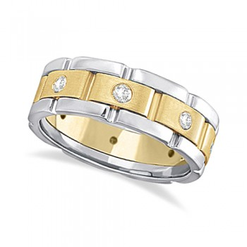 Mens Wide Band Diamond Eternity Wedding Ring 18kt Two-Tone Gold (0.40ct) This fancy wide band diamond eternity ring for men features 8 brilliant cut round diamonds set in a burnished setting that go all the way around your finger. The diamonds that adorn this unique ring are of bright clear G-H Color and VS Clarity.This modern two-tone 18kt white and yellow gold ring has a satin finish in the middle and a polish finish on the sides. This men's ring band is comfort-fit, which means it has rounded inside edges to provide the ultimate comfort for him.Wear this flat style ring as a wedding band, wear it as an engagement ring, as an anniversary ring, or as a right hand fashion ring.Available in other finishes and other precious metals.
