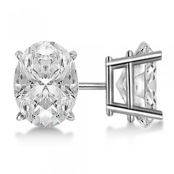 Oval Diamond Stud Earrings 4-Prong Basket Setting In 14K White Gold