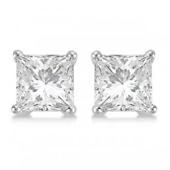 Square Diamond Stud Earrings Basket Setting In 14K White Gold