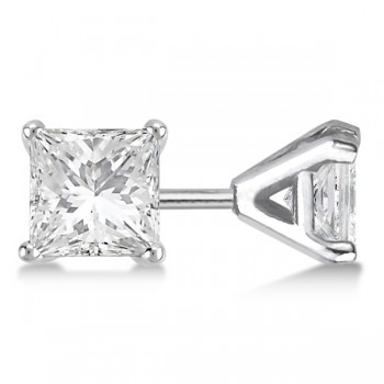 Square Diamond Stud Earrings Martini Setting In 14K White Gold