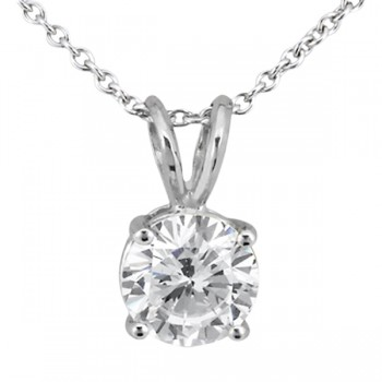 Four Prong Solitaire Pendant Setting in 14k White Gold