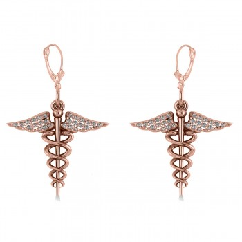 Diamond Caduceus Medical Symbol Dangle Earrings 14k Rose Gold (0.26ct) An emblem often used to represent the healing professions, the Caduceus symbolizes the staff of the winged Greek god Hermes. Our diamond Caduceus earrings include 26 near colorless diamonds on each earring set in 14k rose gold. The stones are rated G-H for color, SI1-SI2 for clarity, with a total 0.13 carat weight on each of the earrings.  Also available in other metals.