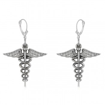 Diamond Caduceus Medical Symbol Dangle Earrings 14k White Gold (0.26ct) A symbol long associated with physicians and healing, the Caduceus also represents the staff of the winged Greek god Hermes. Our diamond Caduceus earrings include 26 round diamonds on each earrin set in 14k white gold. The glittering stones are rated G-H for color, SI1-SI2 for clarity, with a total 0.13 carat weight for each earring. The earrings are also available in other metals.
