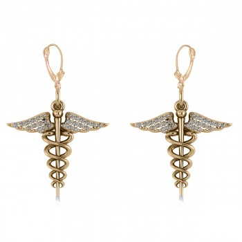 Diamond Caduceus Medical Symbol Dangle Earrings 14k Yellow Gold (0.26ct) A symbol often associated with medicine and healing, the Caduceus represents the wand of the winged Greek god Hermes. These diamond Caduceus earrings feature 26 diamonds on each earring set in 14k white gold. The round stones are rated G-H for color and SI1-SI2 for clarity, with a total 0.13 carat weight for each earring.  The earrings are also available in other metals.