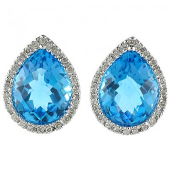 Pear Shaped Blue Topaz and Diamond Earrings in 14k White Gold