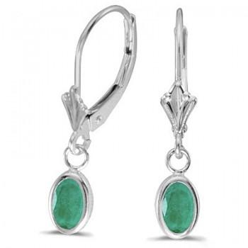 Oval Emerald Lever-back Drop Earrings Trophy Wife Fashion