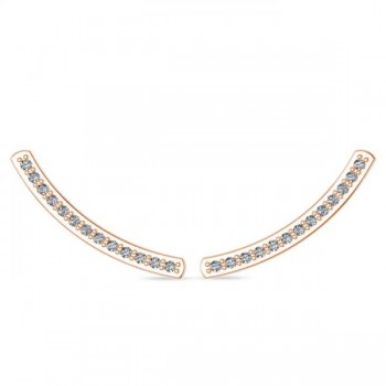 Curved Ear Cuffs Diamond Accented 14K Rose Gold (0.13ct) These diamond curved earring cuffs are the perfect accessories for the chic, fashionable woman. The distinctive design is dazzling with 26 round cut, prong set diamonds that total to 0.13 carats. They will undoubtedly complement your look for a sophisticated touch.Featured in stunning 14K Rose (pink), these conflict free and near colorless diamond ear cuffs are perfect for many occasions.
