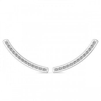 Curved Ear Cuffs Diamond Accented 14K White Gold (0.13ct) These diamond curved ear cuffs are the perfect accessories for the fashionable, chic woman. The stylish design is studded with 26 round cut, prong set diamonds that amount to 0.13 brilliant carats.Crafted in stunning 14K White Gold, these conflict free, near colorless diamond cuff earrings are great for many occasions.