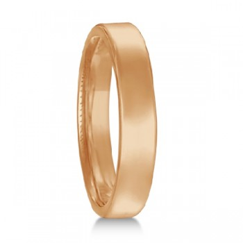 Euro Dome Comfort Fit Wedding Ring Band 14k Rose Gold (3mm) Perfect for both men and women, this contemporary European fit wedding band features a flat surface and round corners. Made in USA, this ring is beautifully crafted in 14kt rose gold with a polished finish. This Euro Fit style wedding ring is comfort-fit, which means it has rounded inside edges, to provide you with the ultimate comfort.  Also available in other widths, metals, and finishes.