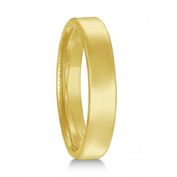 Euro Dome Comfort Fit Wedding Ring Band 18k Yellow Gold (3mm) Perfect for both men and women, this contemporary European fit wedding band features a flat surface and round corners. Made in USA, this ring is beautifully crafted in 18kt yellow gold with a polished finish. This Euro Fit style wedding ring is comfort-fit, which means it has rounded inside edges, to provide you with the ultimate comfort.  Also available in other widths, metals, and finishes.