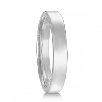 Euro Dome Comfort Fit Wedding Ring Band in Palladium (3mm) Perfect for both men and women, this contemporary European fit wedding band features a flat surface and round corners. Made in USA, this ring is beautifully crafted in 950 palladium with a polished finish. This Euro Fit style wedding ring is comfort-fit, which means it has rounded inside edges, to provide you with the ultimate comfort.  Also available in other widths, metals, and finishes.
