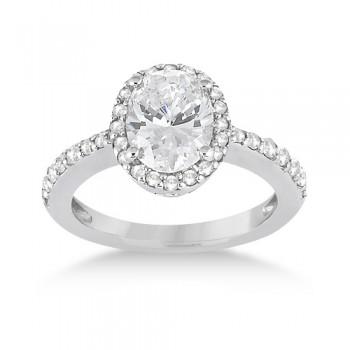 Oval Halo Diamond Engagement Ring Setting 14k White Gold (0.36ct)